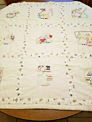 Vintage Hand Made Baby Quilt Embroidered with Sunbonnet Kids