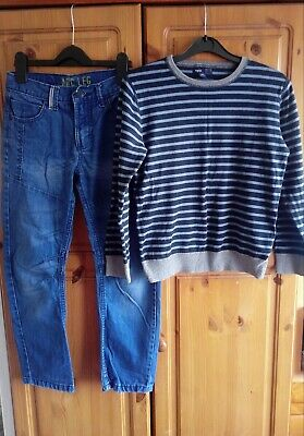 Boys Outfit Gap Jumper And Denim Co Jeans 10-11 Years