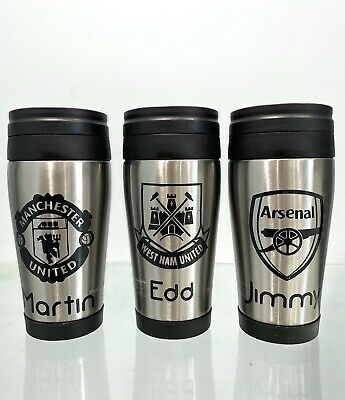 Personalised Football Travel mug any name, Gift, Thermal Coffee, Tea,Flask, Cup,