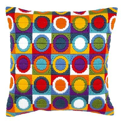Multi-Coloured Circles Tapestry Long Stitch Cushion Front Kit Vervaco, New