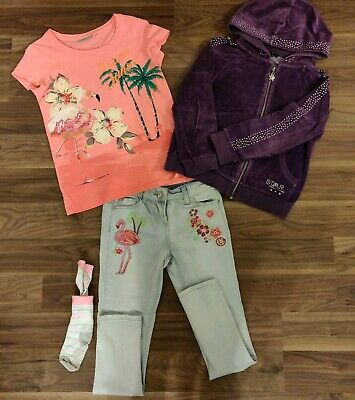 Girls Clothes Outfit Julie McDonald Hoodie Next Flamingo Top & Jeans 8-9 years