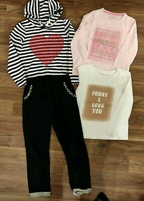 Girls Clothes Bundle Outfit hoodie & tops & jeweled joggers 9-10 years