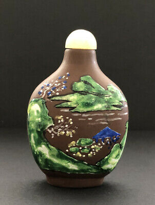 Vintage Early to Mid 20th Century Enameled Yi Xing Snuff Bottle