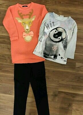 Girls Clothes Bundle Outfit Jumper Dress & Next Top & leggins 7-8 years