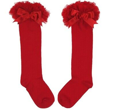 Girls Spanish Red Long Soft Tutu Frilly Socks With  Satin Bow