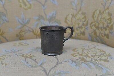 Antique Pewter Cup Hand Engraved Pattern Floral Shield Banner                3H