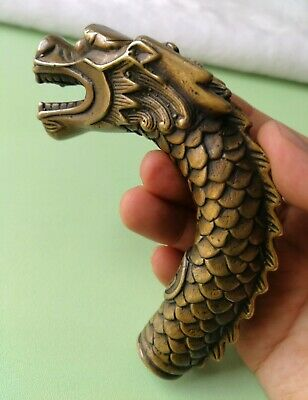 Antique Handmade Carving Bronze Dragon Collect Cane Walking Stick Head Statue
