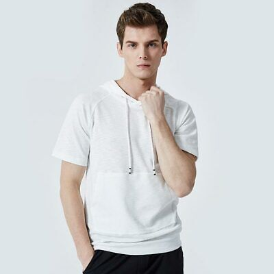 Muscle Hooded T-shirt Mens Hoodie Casual Short Sleeve Tops Shirts Slim Fit Basic