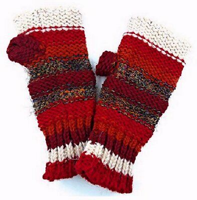 Hand Knit Fingerless Wool and Silk Texting Mittens Fleece Lined Made in Nepal