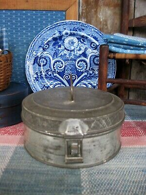 Small Primitive Early Antique Tin Pantry Spice Box