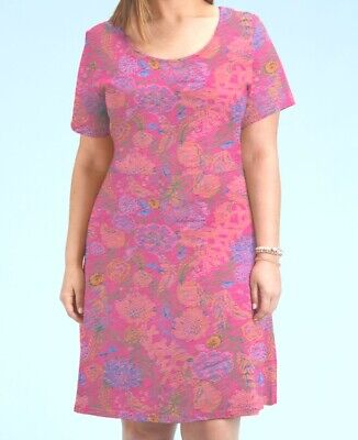 FRESH PRODUCE 3X Papaya Pink Bright BOTANICAL Sadie Jersey Dress NWT New 3X