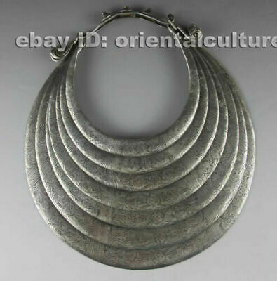 Vintage tribal exotic chinese hand-carved miao silver 7rings necklace