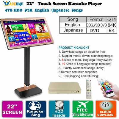 5T HDD 93K Chinese(Mandarin,Cantonese),English Song,Touch Screen Karaoke Player