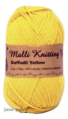 Malli 8ply Acrylic Knitting Crochet Yarn 100g - Daffodil Yellow Machine Washable