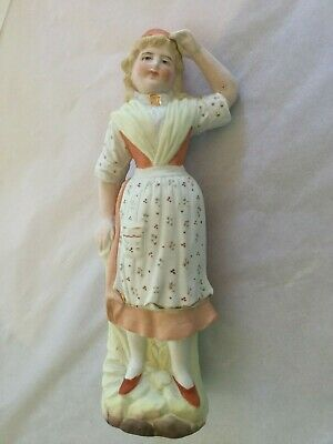 Antique Bisque Late 1800'S Beautifully Hand Painted Girl Lady Figurine No Mark