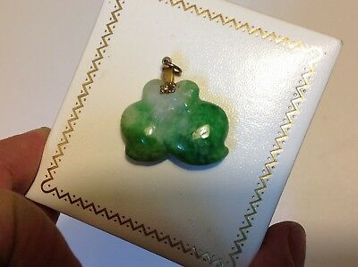 Antique Chinese pendant celadon green jade fruit hand carved China pendant m1865