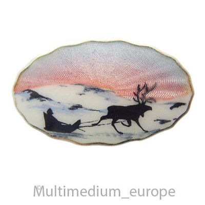 Sterling Silber Brosche Norwegen Emaille enamel silver brooch norway 🌺🌺🌺🌺🌺