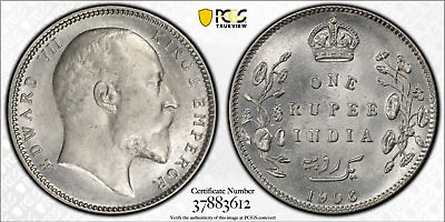 British India 1906(C) Rupee PCGS MS62 Uncirculated coin