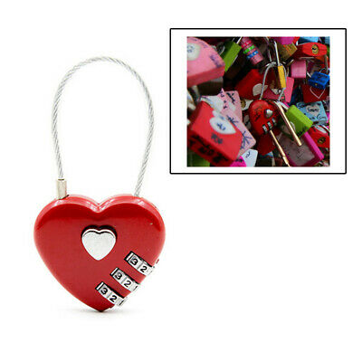 Password Locks Wire Rope Resettable Travel Padlock Digital Combination Heart Bag