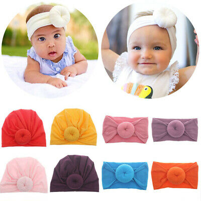 Ne Baby Girls Turban Knot Headband Bow Hair Bands Head Wrap Hat Solid Cute Gift