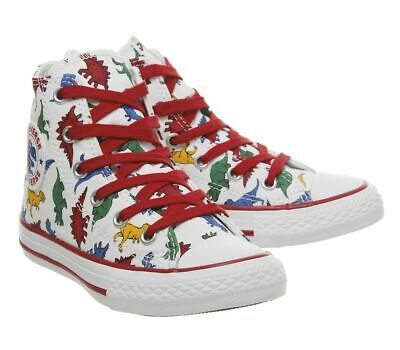 New Junior Kids Converse All Star Dinosaur Size 2 Hi Mid Top Trainer Boot Shoe