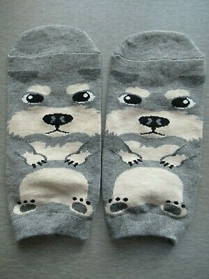 NEW Ladies Girls (1 Pair) Schnauzer Dog Grey Ankle / Trainer Socks FREE P&P