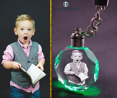 Premium Personalised Photo Keyring + FREE Gift Box  Laser Engraved Image Logo