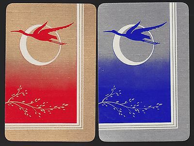 2 Single VINTAGE Swap/Playing Cards CRANE BIRDS FLYING MOON Gold/Silver