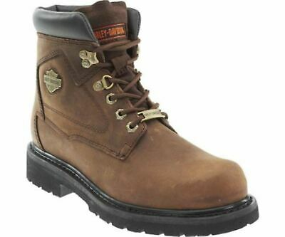 Harley Davidson BAYPORT Ladies Womens Leather Lace Up Biker Ankle Boots Brown