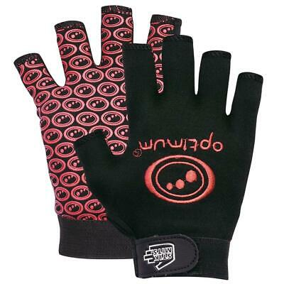 Optimum Sports Stik Mits Half Finger Junior Wrist Strap Rugby Gloves Black/Red