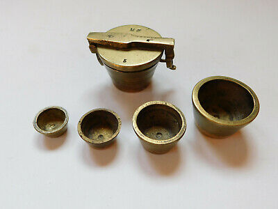 Rare Antique Solid Brass Apothecary Nesting Cups - Solid Brass, 5 Piece Set