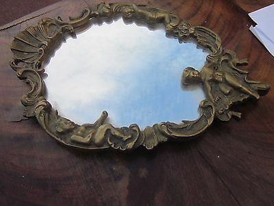 MIROIR A accrocher  BRONZE!  PUTTIS ROCAILLE  BEAUX DECORS 27X20