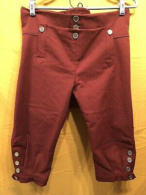 Knee Breeches, Size 34 Burgundy - Rendezvous, Mountain Man, Colonial, Pirate