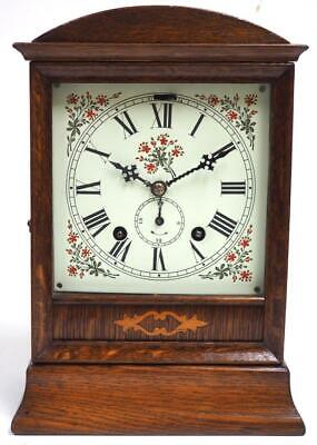 Rare Solid Oak Alarm mantel Clock By W&H 8 Day German Mantle Clock C1890 2 Bells