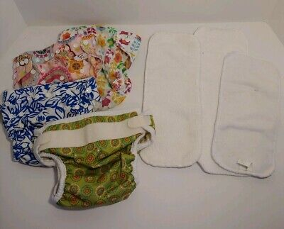 Lot of 4 Diaper Covers + 3 Inserts. Adjustable, Reusable. Preowned