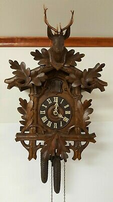 Antique Pre-Ww1 German Cuckoo Clock - Deer W/ Oak Leaves - Serviced - Nice!!!!!!