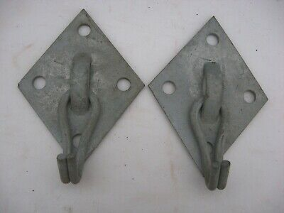 2 Vintage Galvanized Wall Ceiling Swivel Hooks Metal Garden Hangers Barn Find