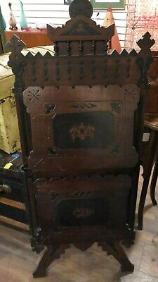 Antique Rare Victorian Ornate Walnut Newspaper Magazine Music Portfolio Stand