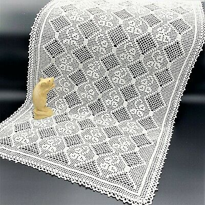 Large White Crochet Centre Piece Table Runner, 47 x 86cm  Immaculate!