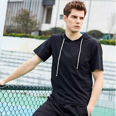 T-shirt Slim Fit Mens Shirts Short Sleeve Muscle Casual Basic Hoodie Tops Hooded