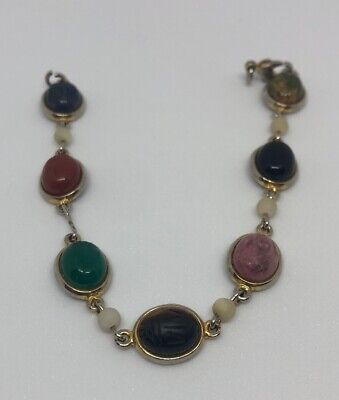 Vintage Scarab Bracelet Stone Gold Tone Egyptian Revival 7 Inches