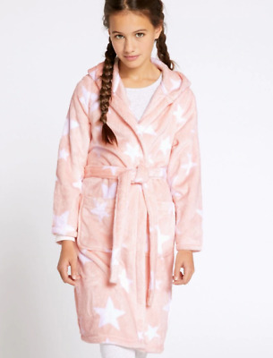 M&S Pink Soft Star Kids Dressing Gown Robe with Hood Age 9/10 Years