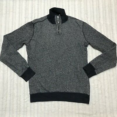 Gap Mens French Terry 1/4 Zip Sweatshirt Size Small S Heathered Navy Blue