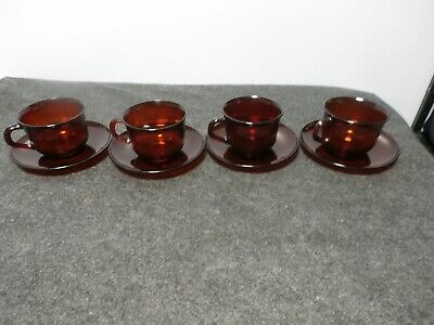 4 Sets Vintage Ruby Red Glass ARCOROC France Coffee/Tea Cups and Saucers