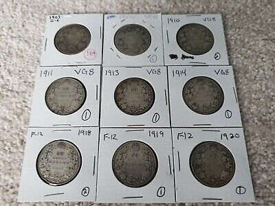 50 Cent Pieces Lot 1903 1906 1910 1911 1913 1914 1918 1919 1920 Ungraded