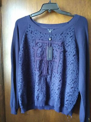 NEW 2X Tommy Hilfiger Womens Plus Crochet Lace Pullover Sweater Blue