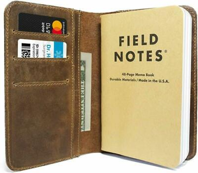 Leather Field Notes Cover For Memo - Fits Moleskine Cahier Pocket Sized Notebook