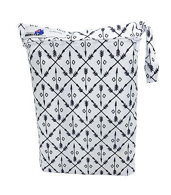 Black & White Arrows Large Zip Dry & Wet Bag - Baby Cloth Nappies, Waterproof