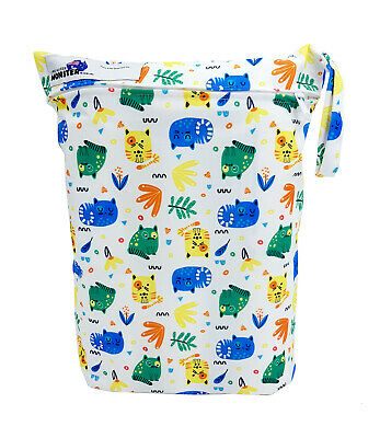 Colourful Cats Large Zip Dry & Wet Bag - Baby Cloth Nappies, Waterproof