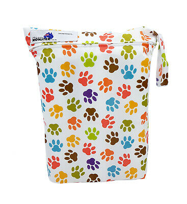 Colourful Paw Prints Large Zip Dry & Wet Bag - Baby Cloth Nappies, Waterproof
